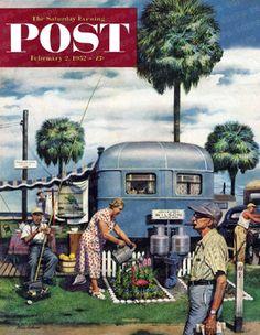 Trailer Park Garden by Stevan Dohanos, Feb. 2, 1952, The Saturday Evening Post.