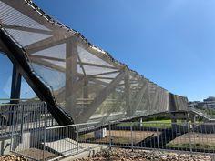 lockergroup_Reid Park Bridge Townsville using Locker Transit Mesh for the pedestrian walkway. Form and Function. #pedestrianbridge #lockergroup #transitmesh #formfunction #bridge #mesh #metalmesh Pedestrian Bridge, Metal Mesh, Walkway, Lockers, Group, Park, Sidewalk, Metal Lattice, Side Walkway