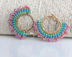 Women's Colorful Beaded Earrings, Bohemian Gold, Green Pink Dangle Beads Earrings, Statement Large D Bead Jewellery, Beaded Jewelry, Handmade Jewelry, Bohemian Jewelry, Beaded Earrings, Beaded Bracelets, Stud Earrings, Brick Stitch Earrings, Diy Schmuck