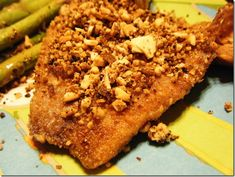 This Almond Crusted Tilapia is one of my very favorite dinners. It's quick and easy to make and the fish comes out moist and flaky with a crunchy crust. Tilapia Recipes, Fish Recipes, Seafood Recipes, Healthy Recipes, Healthy Food, Crusted Tilapia, Tasty, Yummy Food, Yummy Treats