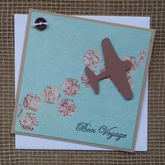 Handmade Square Bon Voyage Card by HelleBellesCards on Etsy