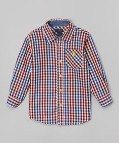 Another great find on #zulily! Red & Blue Plaid Button-Up - Toddler & Boys #zulilyfinds