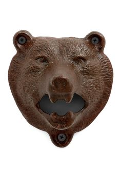 Bear Bottle Opener. Whether you're having a hopping party or just enjoying a brew for two, this wild wall-mounted bottle opener is sure to come in handy. #brown #modcloth