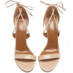 Aquazzura Linda Nude Sandals ($675) ❤ liked on Polyvore featuring shoes, sandals, open toe sandals, laced up shoes, nude patent shoes, patent leather sandals and laced shoes