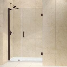 "DreamLine UniDoor 72"" x 47"" Pivot Frameless Hinged Shower Door Trim Finish:"