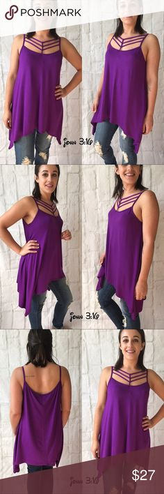 Caged neck tank Spaghetti strap top with caged neckline and asymmetrical hem - in a fun eggplant color  ✔️Made in the USA ✔️95% rayon 5% spandex  Small bust - 34' Medium bust - 36' Large bust - 38' Boutique Tops