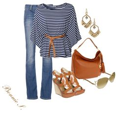 A fashion look from April 2012 featuring blue striped shirt, boot-cut jeans and wrap sandals. Browse and shop related looks. I Love Fashion, Passion For Fashion, Spring Summer Fashion, Summer Fall, Spring Time, Swagg, Dress To Impress, What To Wear, Style Me