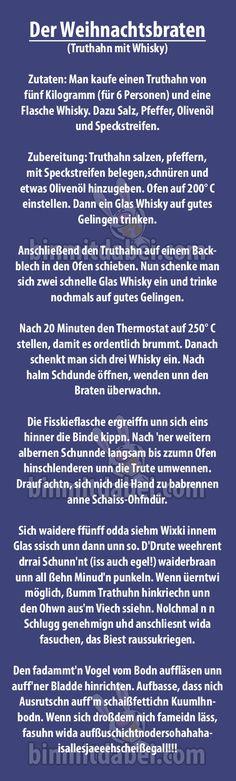 Lustiges Rezept für einen Truthahn mit Whisky. Welche Zutaten Sie dafür brauchen und wie Sie den Braten zubereiten!