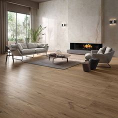 Cozy: wood-effect porcelain stoneware collection Floor Design, House Design, Living Room Decor Cozy, Piece A Vivre, Living Room Flooring, Minimalist Home, Family Room, Furniture Design, Sweet Home