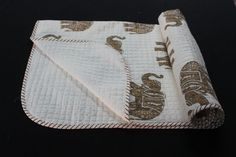 Hand Block Print Cotton Kantha Baby Quilt Blanket Throw Lahariya Design Print #KhushiHandicraft
