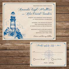Printable Lighthouse Wedding Invitation with RSVP by BeyondDigital