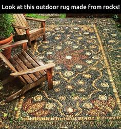 """An outdoor """"rug"""" made from patterned rocks and pebbles. WOW. So amazing, I wonder how long it took to make it?"""