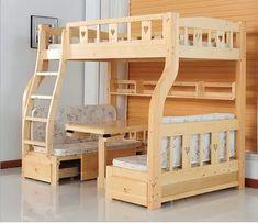 Online Shop Children Beds multi-function environmental children bunk bed wooden beds with study desk drawer slides Children bed Bunk Bed Rooms, Bunk Bed With Desk, Bunk Beds With Stairs, Kids Bunk Beds, Bunk Bed Designs, Girl Bedroom Designs, Bunker Bed, Kids Bed Design, Diy Bett