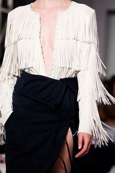If you ever wished you lived in the Wild West, this fringed trend is perfect for you! This fringe leather jacket is from the Altuzarra Spring 2014 collection Paris Fashion, Runway Fashion, High Fashion, Fashion Show, Fashion Outfits, Womens Fashion, Fashion Trends, Fringe Leather Jacket, Fringe Fashion
