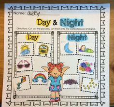 """Directions: Students cut out the pictures of objects and activities seen during the day and at night, sort them into the correct boxes and glue. Check out the other activities included in this """"Day and Night"""" unit! #dayandnight $"""