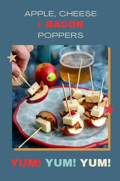 Instead of putting out the jalapeños poppers this year for the Super Bowl, try these little Rockit™ apple poppers! Its a great way to lighten up an old favorite and enjoy a serving a fruit as well. To make the poppers more kid friendly, try swapping out cheddar cheese and ham for the spicy pepper cheese and bacon. Apple Recipes, Beef Recipes, Cheese Stuffed Peppers, Football Snacks, Apples And Cheese, Group Meals, Recipe Today, Low Carb Keto, Caramel Apples