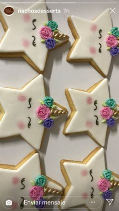 This listing is for only Unicorn Letters that include the padded horn & floral headband. Please include color of glitter, and horn youd like for your letters in the note to seller box at check out. Iced Cookies, Cute Cookies, Royal Icing Cookies, Cupcake Cookies, Sugar Cookies, Unicorn Foods, Unicorn Cookies, Unicorn Birthday Parties, Birthday Box