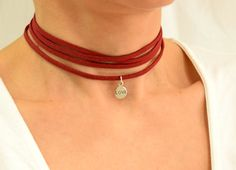 Wrap Choker, Red Choker, Suede Choker, Boho Choker, Silver Choker Necklace, Charm Choker Necklace, Tie Choker, Sterling Silver Necklace