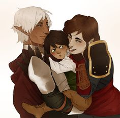 cannedmuffins:  So, I'm finally gonna share my commission from siriusdrawsI got a few months ago (I think it was in May, I lose track of time). But yeah! It's of my rogue Hawke, Fenris and their son~ Thank you again! I still adore this picture sooooo much!!!