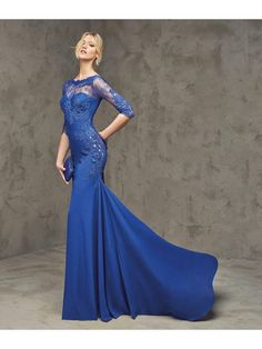 Mermaid 3/4 Length Sleeves Lace Mother Prom Evening Dresses 2103022