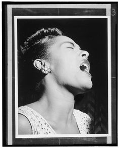Billie Holiday, 1947, from a book of photographs of jazz legends by William Gottlieb. An iconic photo of an icon.