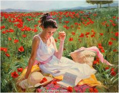 Vladimir Volegov in poppies painting is shipped worldwide,including stretched canvas and framed art.This Vladimir Volegov in poppies painting is available at custom size. Illustrations, Illustration Art, Vladimir Volegov, Ecole Art, Figure Painting, Human Painting, Rain Painting, Female Portrait, Paintings For Sale
