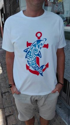 Dolphin anchor tribal cotton t-shirt