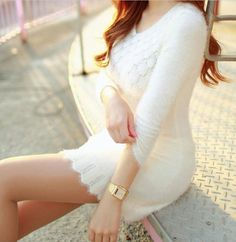 Tight sweater dress long sleeve v neck lace knitted tight women s