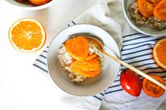 Creamy Oats with Poached Tamarillos Grapefruit, Rolls, Coconut, Cooking, Recipes, Food, Kitchen, Buns, Recipies