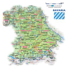 587 best german maps and flags images on pinterest germany map of bavaria with cities map of bavaria germany map in the gumiabroncs Images