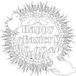 Printable #Easter wreath  line art with bunny, peep, tulips and eggs