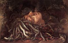 Cabeza de Medusa (Uffizi Gallery)  Pintura atribuida a Leonardo y actualmente reconicida como una obra de un pintor flamenco del 1600.