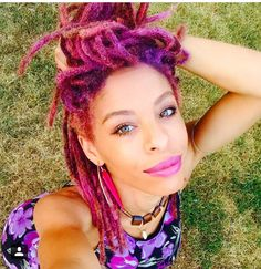 @thegoddessflow Maria NaShay girls with locs women with locs purple locs pink locs fuschia locs dreadlocs Queen Dyed Dreads, Dreadlocks, Dreadlock Hairstyles, Cool Hairstyles, Hair Inspo, Hair Inspiration, Blond, Curly Hair Styles, Natural Hair Styles
