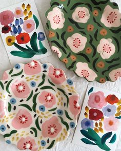 Pottery Painting Designs, Paint Designs, Pretty Patterns, Flower Patterns, Ceramic Painting, Ceramic Art, Keramik Design, Do It Yourself Inspiration, Retro Flowers