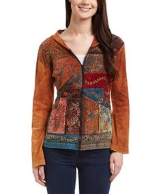 Look at this Royal Handicrafts Orange Patchwork Hoodie on #zulily today!