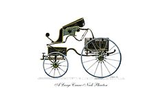 Phaetons were a fashionable vehicle of choice in the Regency, they had large rear wheels, and a bench over the front wheels.