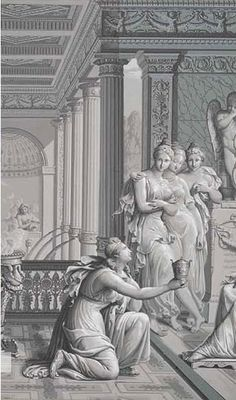 One of my all time favourite grisaille wallpapers: Psyché et Cupidon by Dufour from the beginning of the 19th Century.
