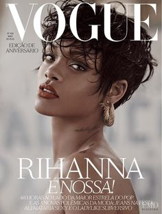 Rihanna featured on the Vogue Brazil cover from May 2014