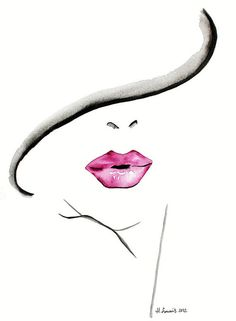Original Fashion and Beauty Illustration of womans lips by Helen Simms, simple watercolour portrait painting art print Watercolor Portrait Painting, Easy Watercolor, Painting & Drawing, Watercolor Fashion, Mouth Painting, Dress Painting, Watercolor Water, Portrait Paintings, Fashion Painting