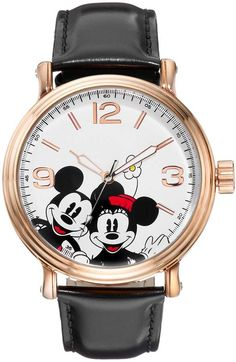 Showcase your soft spot for Disney's iconic couple with this charming Mickey and Minnie Mouse watch. Comes in a gift box. Minnie Mouse Watch, Mickey Minnie Mouse, Disney Mickey, Leather Buckle, Black Leather, Disney Charms, Disney Jewelry, Disney Style, Disney Clothes