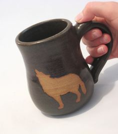 Howling Wolf Coffee Mug Tea Cup Handmade Pottery by pottersong