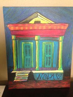 Colorful New Orleans Shotgun House by EatLiveLoveNOLA on Etsy