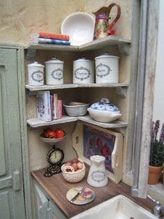 I love this corner of the pantry in Norma's French Kitchen make mine mini