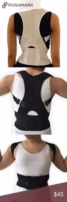 Posture Corrective Therapy Back Brace (Unisex) Back Pain: Twelve strategically placed Internal magnets work to decrease back and neck pain by attempting to correct disrupted magnetic impulses. Posture Corrector: Get rid of unattractive slouch and humpback. It gives you the support you need to keep your posture aligned. Unisex, great for both men and women. Fully adjustable, comfortable and easy to wear. It can even be worn under your clothes. Wear it at home, at work, k, or even when you…