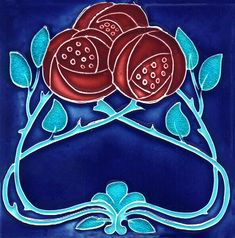 Historic Tiles - Moulded Art Nouveau Tiles - Burgundy Rose Trio