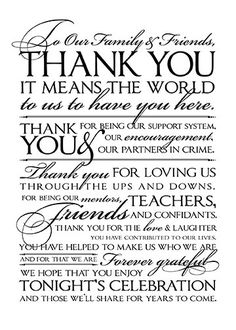 """Wedding """"THANK YOU"""" Letter to Friends and Family, 8"""" x 10"""", Printable, DIY, Sign, Letter, Black, White, Any Color"""