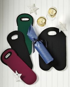 Wine Tote with a monogram, name or a fleur de lis $14 each from Orleans Embroidery