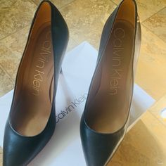 Calvin Klein Shoes, Calvin Klein Black, Leather High Heels, Christian Louboutin, Peep Toe, Color, Things To Sell, Products, Fashion