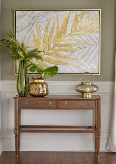 Jefferson Console with Tropical Gild wall art Hallway Decorating, 2nd Floor, Wall Ideas, Beams, Entryway Tables, Console, Tropical, Flooring, Warm