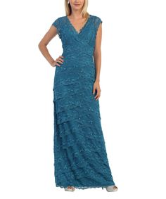 Take a look at this Teal Lace-Overlay Gown today!